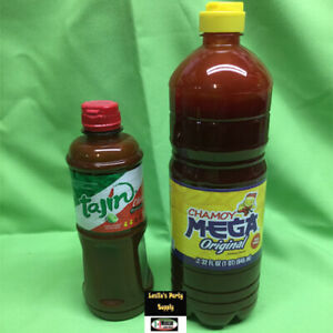 2 Bottles Mexican Hot Mega Chamoy 32oz & Tajin Regular Snack Sauce 15oz