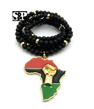 """NEW FIST POWER AFRICA PENDANT W/ 30"""" WOOD BEAD CHAIN HIP HOP RAPPERS NECKLACE"""