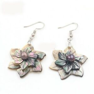 Genuine Flower Carved Shell Black Pearl Gems Silver Dangle Hook Earrings Jewelry