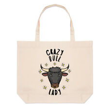 Crazy Bull Lady Stars Large Beach Tote Bag - Funny Animal Shoulder Shopper