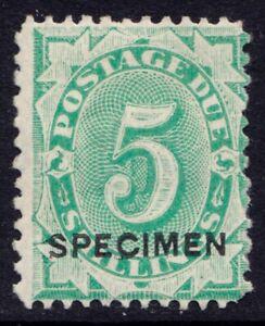 Australia five shilling postage due stamp with Specimen overprint