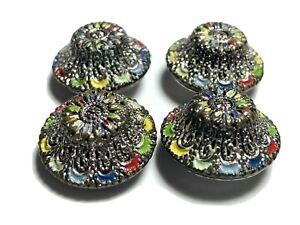 Antique Vintage tchecoslovaquie Czech Pierced Metal Painted Dome Buttons Lot