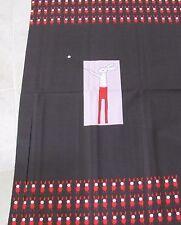 "PANEL BLACK RED PINK RIC RAC RABBIT EASTER 25"" x 43"" COTTON FABRICS ANDOVER 5758"
