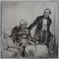 COUSSENS ( 1881-1935) : Amateurs d'estampes. Pointe sèche originale. 1922