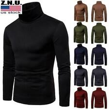 Men Casual Winter Warm Knitted Turtleneck Pullover Sweater Jumper Top Sweatshirt