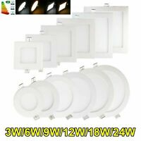 1-10x 3W 6W 9W 12W 15W 18W 24W LED Recessed Ceiling Light Panel Ultra Thin Round
