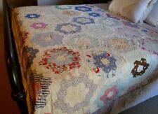 Vintage Handmade Grandmother's Garden Cutter Quilt Hand-quilted