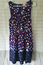 Moulinette Souers Anthropologie Sz 6 Sleeveless Silk Dress Blue Polka Dot Lace