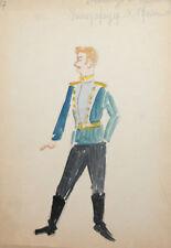 Vintage officer costume design watercolor drawing signed