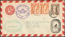 577 PERU TO ARGENTINA AIR MAIL COVER 1947 10th ANNIV. FIRST DIRECT FLIGTH FFC