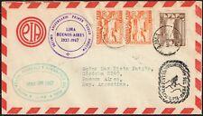 577 Peru To Argentina Air Mail Cover 1947 10th Anniv. First Direct Fligth Ffc