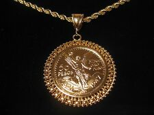 """CENTENARIO COIN & FANCY Holder Pendant,with a 24"""" 5mm Rope Chain GOLD PLATED"""