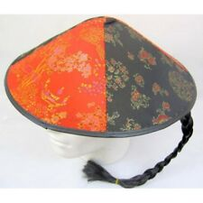 Chinese aladin Hat  Round Decorated adult siz ,oriental fabric and pigtail