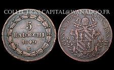 5 Baiocchi 1849 B, Stato Pontificio (VATICAN) Pius IX°, an IV. Bronze