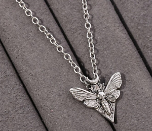 Gothic DEATH HEAD MOTH Pendant Necklace Halloween Horror Silver Wicca Wings