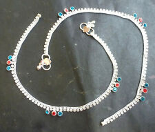 """Indian Silver Plated 10"""" Payal Foot Designer Chain Anklet Set Women Jewelry .,g"""