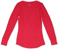 New Gap Women's Clothes Red Waffle Thermal Top Shirt Crew Neck L/S NWOT Size M