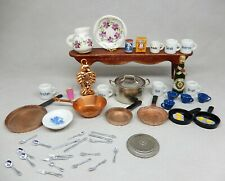 Vintage Kitchen Lot Pots Pans Coffee Mugs Pitcher Dollhouse Miniature 1:12