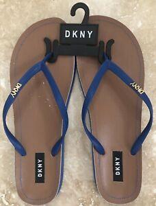 New DKNY Slip On Sandal, Blue With Gold Hardware, Size 11, EUR 42.5