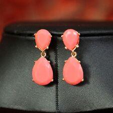 Costume Fashion Earrings Two Tear Drop Pear Coral Retro Vintage Style Cute DD 1