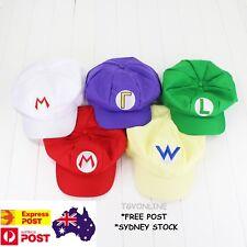 Super Mario Bros Cosplay Luigi Costume Adult Party Hat Cap Child One Size Wario