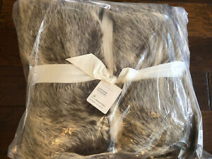 Pottery Barn Faux Fur Luxe Mink Throw Christmas Decor New Brown 50x60