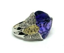 Modern 18K White Gold Amethyst HEART Diamond Butterfly Coctail Ring