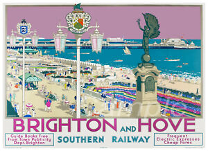 BH02 VINTAGE BRIGHTON AND HOVE SOUTHERN RAILWAY A3 POSTER PRINT