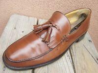 MEZLAN Mens Dress Shoes Soft Cognac  Brown Leather Slip On Tassel Loafer Size 9M