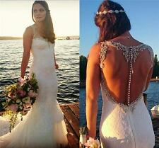 2017 White Backless Lace Beach Dress Bridal Gowns Wedding Dresses Custom Size