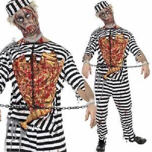 MENS HALLOWEEN Zombie Convict Gangster FANCY DRESS COSTUME DELUXE Size M