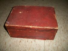 Old Small Wooden hinged decorative Box lined inside with castle drum design Doll