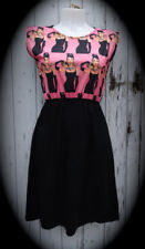 Audrey Hepburn & Cat Pink Dress - Size 10 12 14 - Digital Print Skater Pin Up