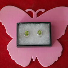 NATURAL 8X6 MM. AAA APPLE GREEN PERIDOT & WHITE CZ STERLING 925 SILVER EARRING