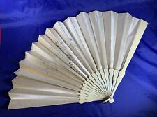 Large Satin Opera Fan, Hand Painted decoration c1920 a256