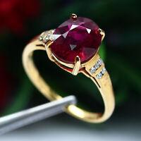 REAL GOLD 18K 90% 2.48g, NATURAL RUBELLITE 2.58K, DIAMOND 0.08K 10PCS RING