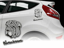 Aufkleber Shar Pei  H389 Hundeaufkleber Wunschname Auto