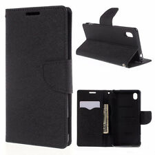 Korean Mercury Goospery Fancy Diary Wallet Case Cover for Sony Xperia M4 Black