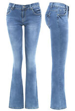 Womens Slim Fit Jean Flare Flared Denim Bootcut Jeans Size 10 12 14 6 8 New Blue