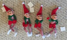 Lot of 4 Plush Elf Pixie Dolls Red & Green Posable Plush Christmas Ornament BNew