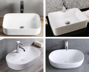 1 Aufsatz Waschbecken Keramik eckig oval Handwaschbecken Keramikwaschbecken weiß