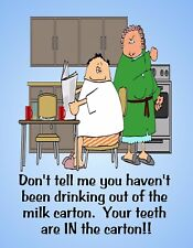 METAL FRIDGE MAGNET Your Teeth Are In The Milk Carton Friend Family Humor Funny