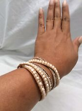 Beautiful Nakamol Cream Brown Crystal Cord Wrap Bracelet