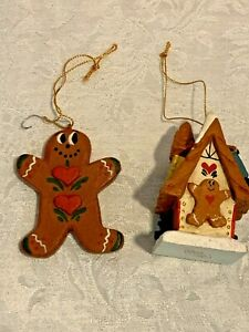 Vintage House Of Hatten Lot of 2 Christmas Gingerbread Ornaments Denise Calla