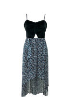 NWT BCBGENERATION Black Blue Pattered Cut Out Tank Hi Lo Maxi Dress Size 6