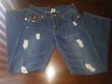 True Religion Brand Jeans Sz 34 Dark Wash Blue Distressed Mens Jeans Skull Patch
