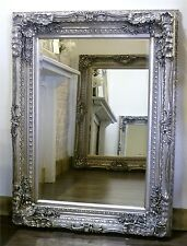 "Chelsea Ornate Carved Louis French Style Wall Mirror Silver 48"" x 36"" X Large"