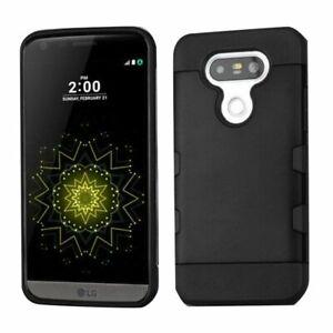 For LG G5 Shockproof Hybrid Armor Dual Layer Hard Case Slim Cover Black