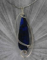 LAPIS LAZULI  GEMSTONE PENDANT, NECKLACE IN STERLING SILVER  WIRE WRAPPED