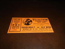 1964 OLE MISS AT VANDERBILT COLLEGE FOOTBALL TICKET STUB EX-MINT